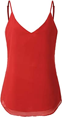 poundy underwear Women's Solid Color Vest V-Neck Camisole Top Women's Sleeveless top Sexy Pajamas Mini Skirt