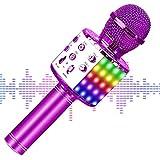 【2020最新版】 カラオケマイク bluetooth ワイヤレスマイク LEDライト付き 音楽再生 録音可能 家庭カラオケ ポータブルスピーカー ノイズキャンセリング 2400mAh TFカード機能 Android/iPhoneに対応 XIANRUI (ピンク)