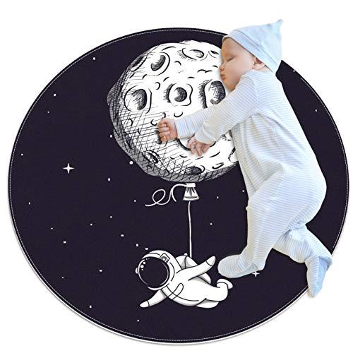 Funny Spacemen Galaxy - Alfombra redonda para sala de estar, dormitorio, estudio, sala de juegos, decoración del hogar, alfombra con respaldo antideslizante (80 x 80 cm)