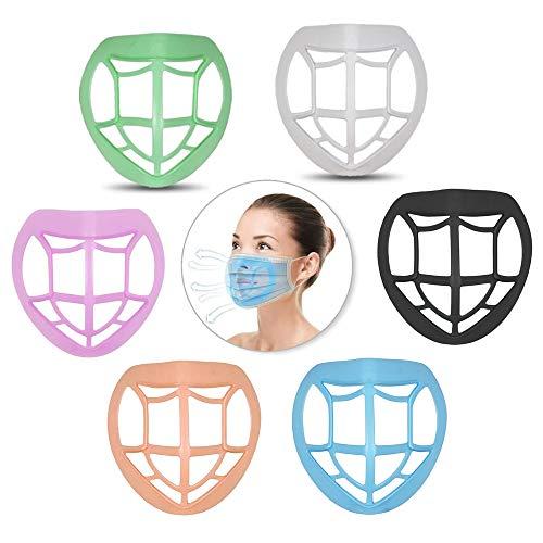 FanLe Paquete de 6 Soportes para mascarilla para un Uso cómodo, máscara Suave 3D, Soporte Interno, Marco Interior, Reutilizable, Lavable, Transpirable, Protector de lápiz Labial, Soporte para Adultas