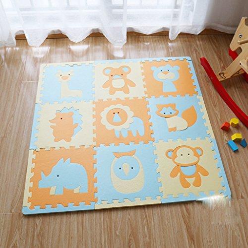 Enfants tapis rampants, tapis de puzzle en mousse épaisse casse-tête, tapis d'escalade de bébé, couverture de jeu bébé couture 30 * 30 * 1.4cm9 pièce (Color : Grassland life)