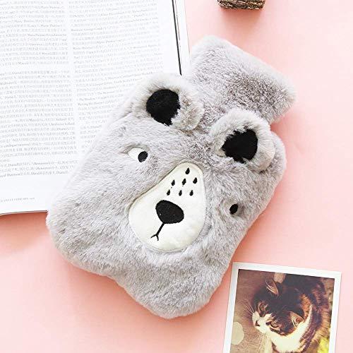 Elise Bouteilles d'eau Chaude, 500ml / 800ml Matière PVC Sac Mignon Chaud Animal Eau avec couvertures en Polaire for soulager la Douleur (Grizzly, 20 * 14cm) (Color : Grizzly, Size : 17 * 26cm)