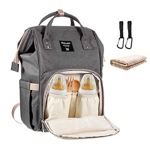Baby Wickelrucksack mit 2 Pcs Kinderwagen-haken und 1 Pcs Wickelunterlage, Multifunktionale Wasserdichte Wickeltasche mit große Kapazität und warme Tasche, Babytasche für Reise