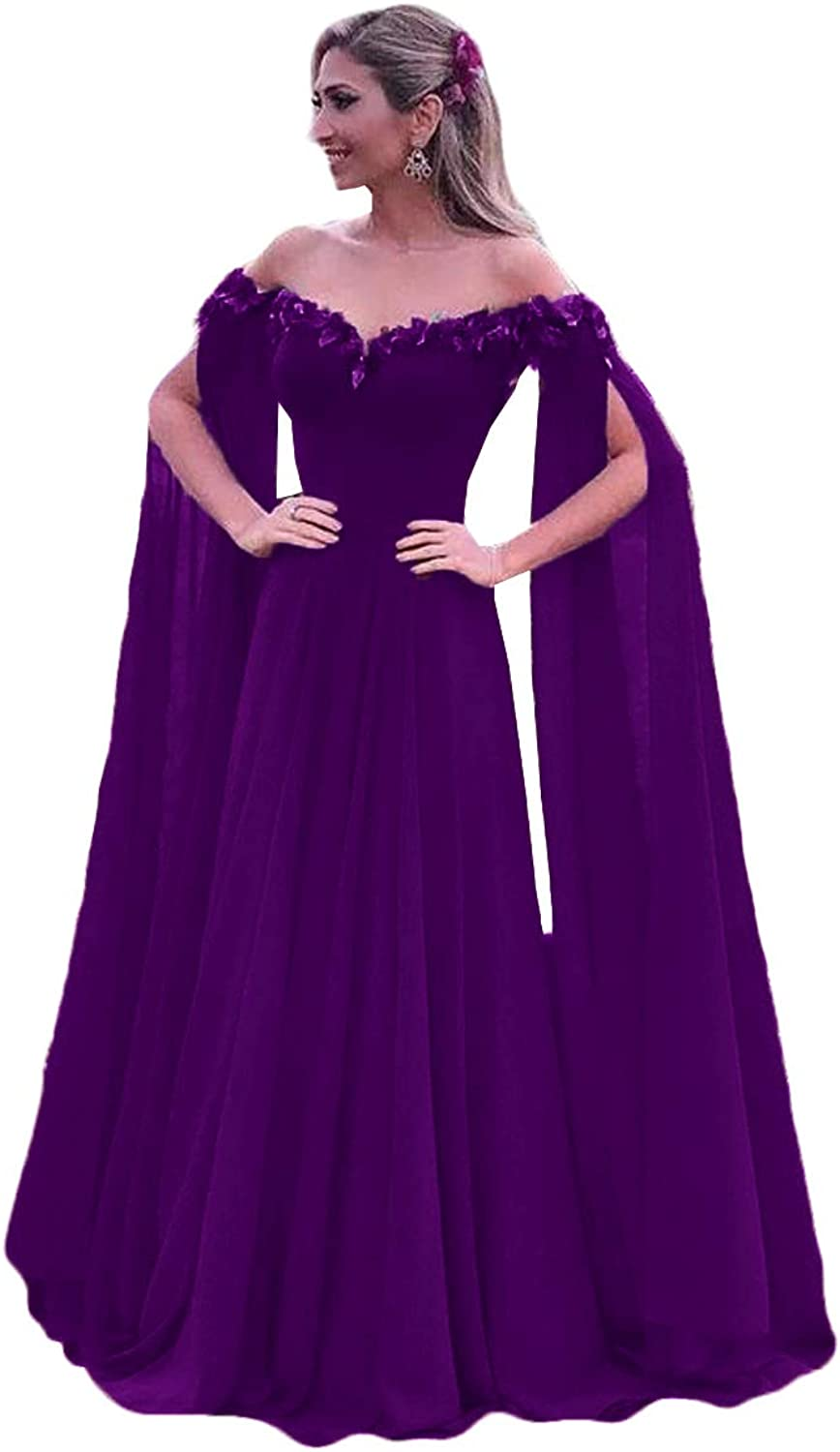 WZW Off The Shoulder Ball Gown Long Sleeves 3D Flower Prom Dresses Evening Gowns Long