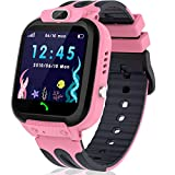 Kids Smart Watch Phone with GPS/LBS Tracker, Smartwatch for Boys Girls 3-12 Years Two Way Calling Watches with HD Touchscreen SOS Camera Clock Math Game (Pink)