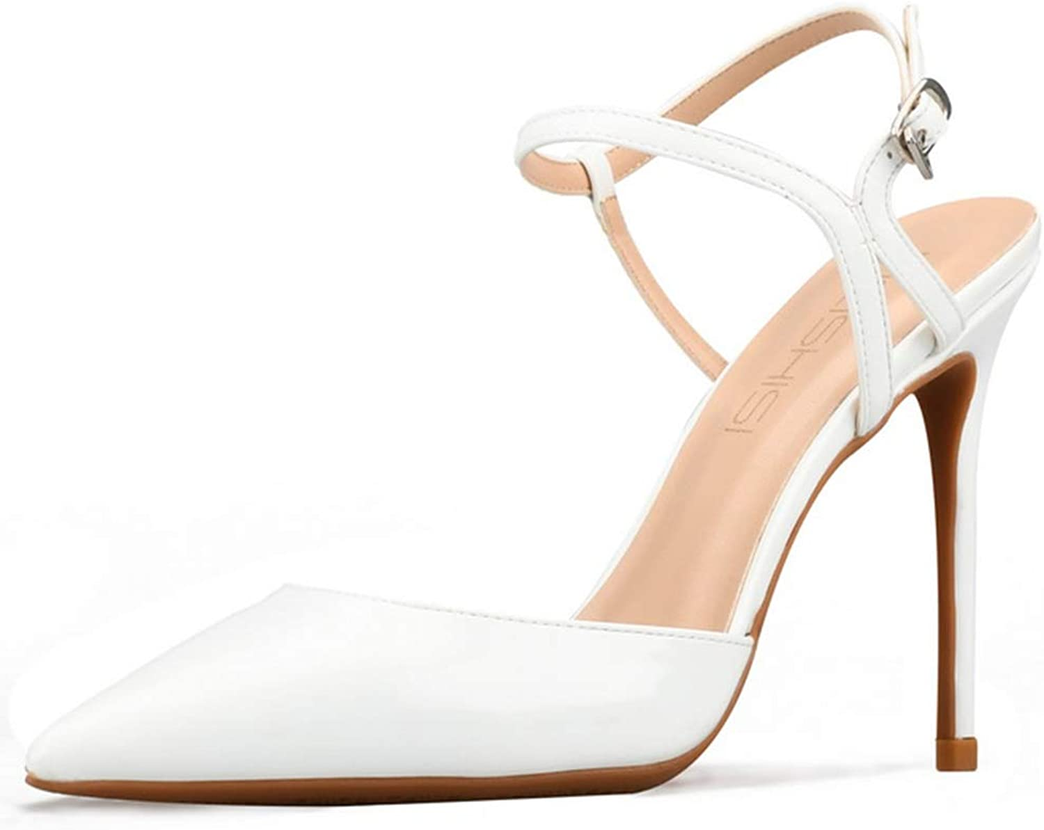 Women's Ankle-Strap Stiletto shoes, Fashion Sexy Sling Back Ladies Sandals 10cm Pointed Toe Patent Leather Pumps