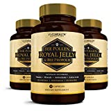 Vivid Health Nutrition High Potency Royal Jelly(500mg) & Bee Pollen(1200mg) with Bee Propolis(400mg). 100% All-Natural, Vegetarian Formula - 3 Bottles / 90 capsules each by Vivid Health Nutrition