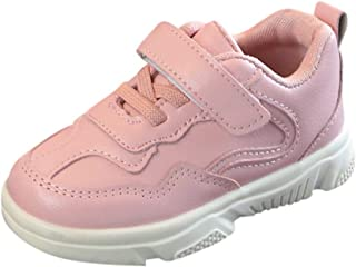Boomboom Baby'Shoes Toddler Sneakers for Boys and Girls White School Shoes Hook and Loops Sneakers Baby Leathe Sneaker