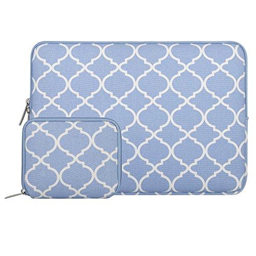 MOSISO Tasche Sleeve Hülle Kompatibel mit 13-13,3 Zoll MacBook Pro, MacBook Air, Notebook Computer Canvas Geometrisch Muster Laptophülle Laptoptasche mit Klein Fall, Serenity Blau Vierpass