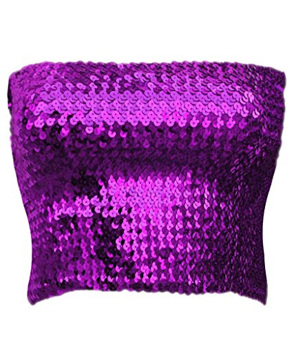 Alivila.Y Fashion Sparkling Sequins Stretch Party Tube Top A11-Purple