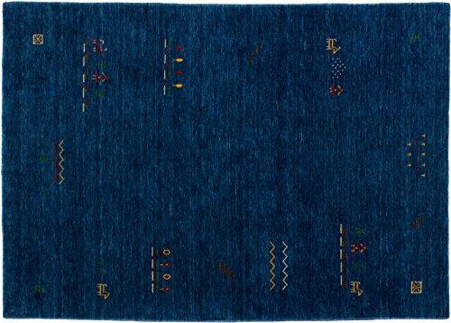 Lifetex.eu Teppich Lori Loom ca. 160 x 230 cm Blau handgearbeitet Schurwolle Modern hochwertiger Teppich
