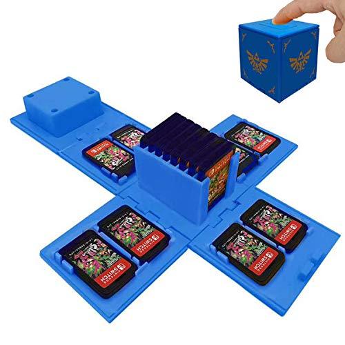 TUSNAKE Porta Carte da Gioco per Nintendo Switch, Contiene Fino a 16 Giochi Sistema di Conservazione Protettivo Organizzatore Card Giochi Involucro Rigido (Zelda Blue)