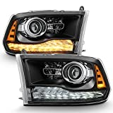 ACANII - For 2009-2018 Dodge Ram 1500 10-18 2500 3500 Upgrade Black Housing LED Turn DRL Projector Headlights Headlamps