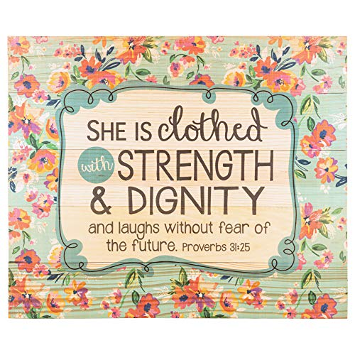 She is Clothed with Strength and Dignity Proverbs 31 Woman 18 x 21 Wood Pallet Design Wall Art Sign