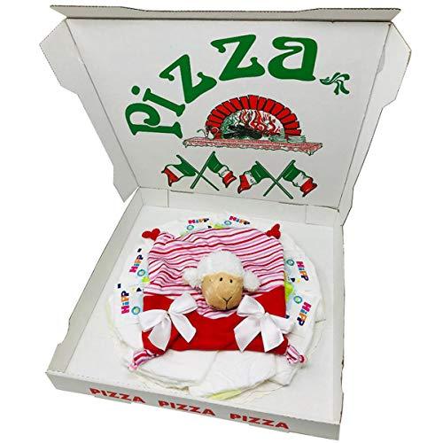 Windelpizza Kuscheltuch Schäfchen Mia für Mädchen Geschenk zur Geburt, Taufe oder Babyparty. Windeltorte