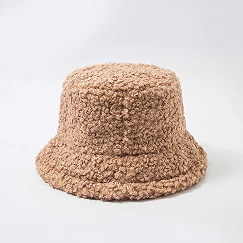 Sombrero de Mujer Piel sintética sólida Gorra Femenina cálida Piel sintética Sombrero de Cubo de Invierno para Mujer Sombrero de protección Solar al Aire Libre Sombrero Panamá Lady Cap - Caqui