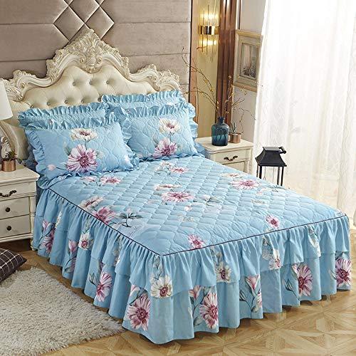 CYYyang Protector de colchón, algodón, poliéster, Hoja de Cama de Encaje de Falda de Cama engrosada-15_180 * 220cm