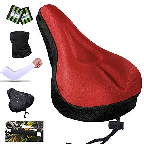 Karetto Bicycle Gel Saddle Cover/Bike Seat Cover with Drawstring - Comfort Soft Silicone Bike Seat Cushion Pad for Mountain Road Bike Outdoor Cycling Ride Race