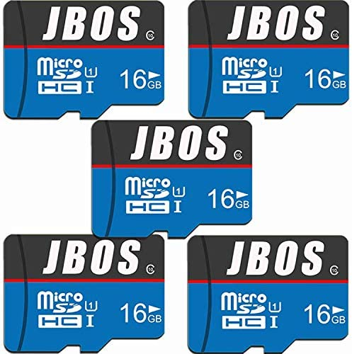 16GB Micro SD Card 5 Pack JBOS Micro SDHC Card 5pcs UHS-I Memory Card C10 U1 16 GB High Speed TF Card for Smartphone/Bluetooth Speaker/Tablet/PC/Drone/Camera