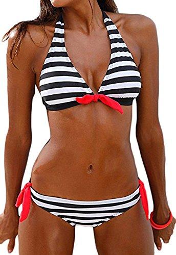 Sixyotie Damen Bikini Set Streifen Pin Up Padded Bademode Strand Bikini (Black, M(EU 34))