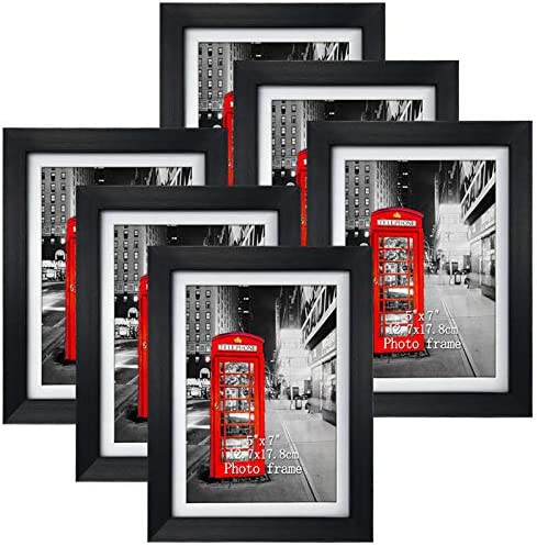 8x10 Black Picture Frames with Mat for Wall or Table Top Decoration, Set of 6