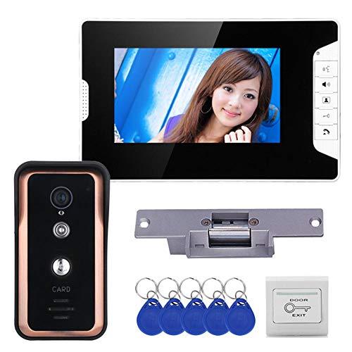 Sistema de timbre de video, monitor de 7 pulgadas + cámara de visión nocturna + cerradura magnética eléctrica, intercomunicador de videoportero con cable para seguridad en el hogar,1 monitor