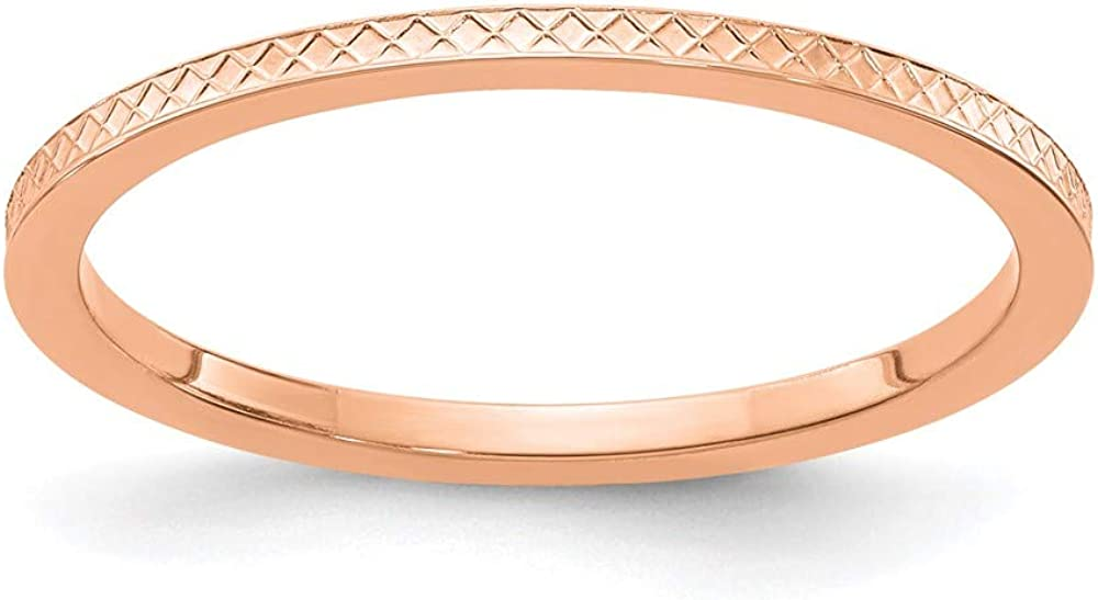 10k Rose Gold 1.2mm Criss Cross Religious Pattern Stackable Wedding Ring Band Size 7.00 Fancy/Fine Jewelry For Women Gifts For Her