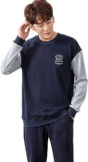 メンズパジャマコットンウォームホームウェア長袖春秋メンズカジュアルウェア パジャマ (Color : Blue, Size : 175cm/xl)