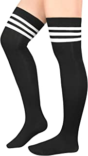 Zando Women's Plus Size Thigh High Socks Long Thigh High Stockings Thin Leg Warmers Socks Striped Over the Knee Socks