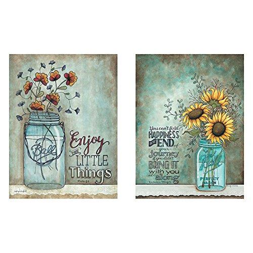BABE MAPS Two 12x16 Wall Art Prints Ball Mason Jars Sunflowers Poppies