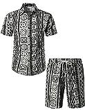 JOGAL Men's African Dashiki Prints Button Down Short Sleeve Hawaiian Shirt Suits Medium Black White