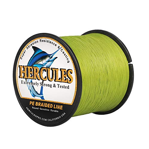 Hercules Braided Fishing Line 1000m 1094yds 10lbs-300lbs Pe Dyneema Superline 8 Strands (Army Green 20lb/9.1kg 0.20mm)