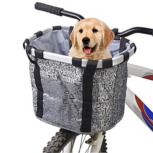 Hamiledyi Dogs Carrier Bike Basket - Perfect Removable Dog Front Basket for Bike - Pet Cat Dog...
