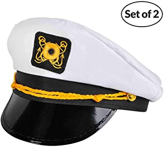 Yacht Captain Hat - (Pack of 2) Adult Cruise Ship Nautical Admiral Sailor Navy Cap
