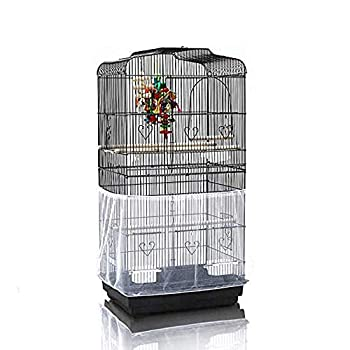 ASOCEA Cage à oiseaux extra large universelle avec filet en maille de nylon pour perroquet, perruche, ara, inséparable, gris africain – Blanc (cage à oiseaux non incluse).