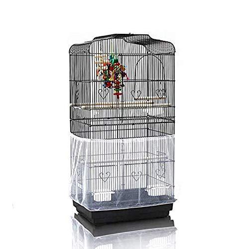 Asocea - Funda de malla de nailon para pájaros, tamaño extragrande, color gris africano, color blanco (no incluye jaula para pájaros)