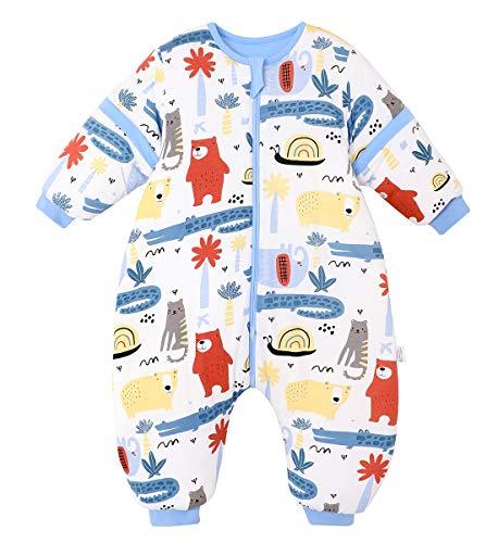 Saco de dormir con piernas para niño o niña, manga larga, 15 meses a 2,5 años (80 – 95 cm)