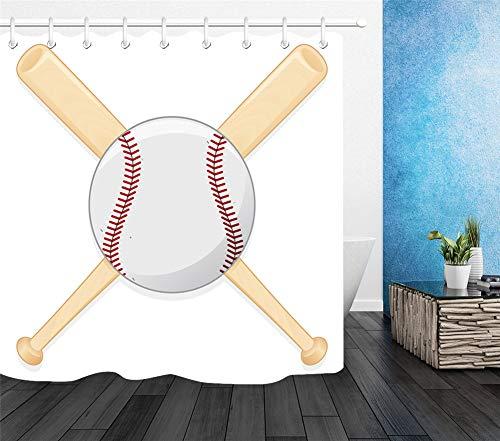 ZZZdz baseball en stokken. Douchegordijn. 180 x 180 cm. 12 vrije haken. Huisdecoratie. 3D Hd-druk. Eenvoudig te reinigen. Badkameraccessoires.