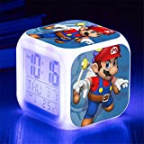 QIANMA Reloj Super Mario Juego de Super Mario, Figuras de acción, Juguetes, Figura de Mario, Reloj Despertador LED, luz para niños, Juguetes de Regalo de cumpleaños