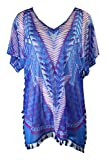 I.N.C. International Concepts INC Womens Blue Fringed Striped Short Sleeve V...