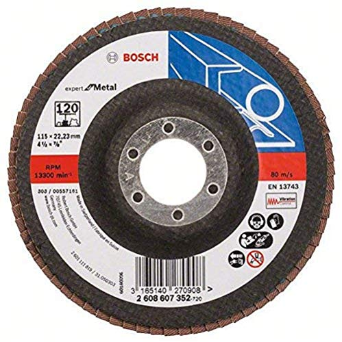 Bosch Professional Fächerschleifscheibe (für Winkelschleifer verschiedene Materialien, Ø 115 mm, Körnung 120)