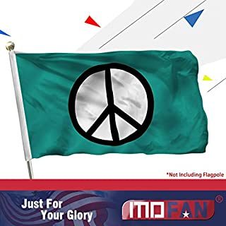 MOFAN Peace Symbol Flag (Green) Polyester Nicely Stitched and Vivid Bright Color World Peace Flag Banner with 2 Solid Brass Grommets 3x5 Ft Indoor/Outdoor Decoration
