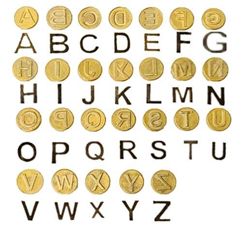 NUOBESTY Set di Timbri in Ferro Maiuscolo 3X3cm Mini Hotstamps Dorati Alfabeto Lettere A-Z Lettere Tagliapasta Punte per Saldatore di Legno Punte per Ferro Fai da Te Intaglio Pirografia