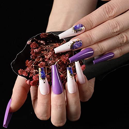 Foyte Super Long Press on Nails Purple Glossy Fake Nails Coffin Ballerina Glitter False...