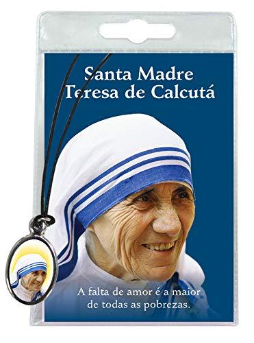 Medalla Madre Teresa de Calcuta con cordón y oración en portugués