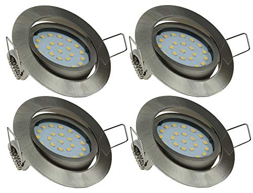 ChiliTec Lot de 4 spots LED encastrables - 4 W - 330 lm - Profondeur : 26 mm - Diamètre du trou : 71 mm - Orientable - 230 V