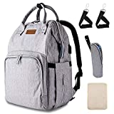 Diaper Bag Backpack with USB Charging Port Stroller Straps Insulated Pocket and Changing Pad for Women/Girls/Mum(Grey)