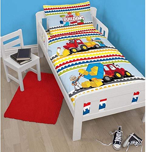 LEGO Duplo Blocks' Junior Duvet Set-Large Print, Polyester-Cotton,...