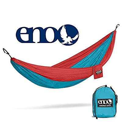 ENO, Eagles Nest Outfitters DoubleNest Lightweight Camping Hammock, 1 to 2 Person, Aqua/Red