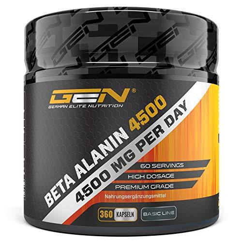 Beta Alanin 4500 mit 360 Kapseln a 750 mg - Premium Beta Alanine Aminosäure -Hochdosiert - German Elite Nutrition